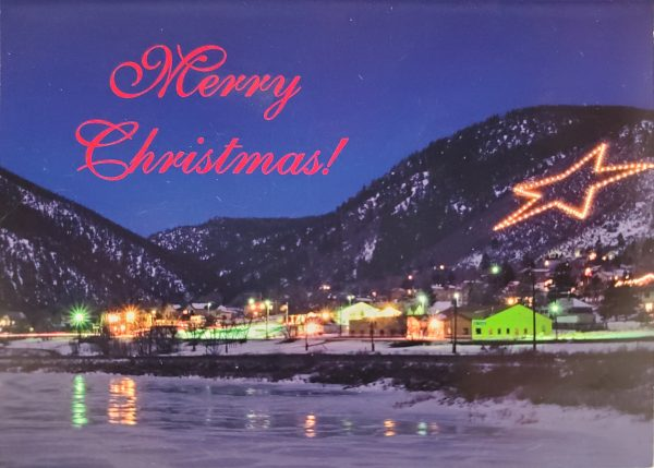 Front of the Palmer Lake Star Christmas card based on the photograph by Jess Smith.